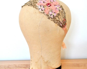 Vintage inspired lace headband/Antique metallic lace/Pastel pink/Rosettes/Beaded flowers/Antique silk/French sequins/Ribbon trim/Bridal