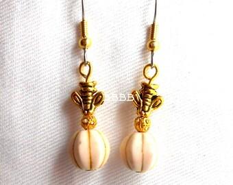 Honey Bee Golden Earrings - Surgical Steel French Hooks Ecru White Pumpkin Fluted Magnesite Howlite Gemstone Beads