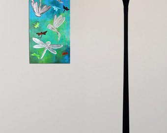 Silver Dragonfly Panel, 10x30 Acrylic Canvas, office art, home decor, abstract painting