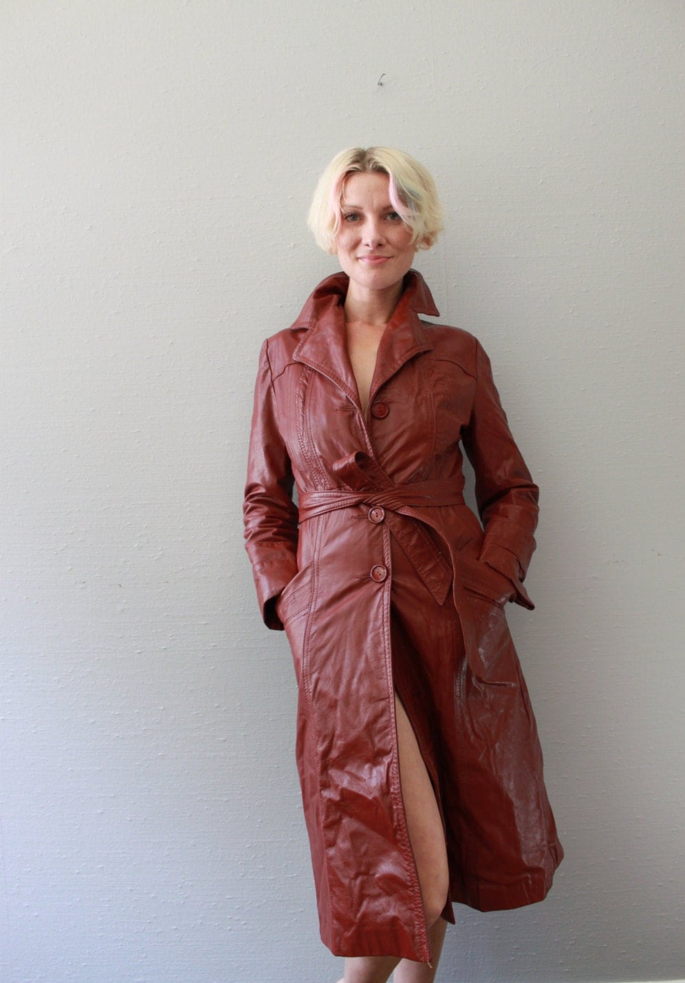 Vintage Leather Trench Coat By Wilsons House Of Suede And