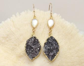 FLASH SALE Purple Druzy Earrings, Mother of Pearl Bezel Stones, Druzy Jewelry, Drusy, Gemstone Earrings