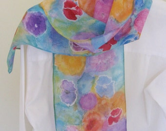 Hand painted silk scarf floral red  blue orange poppies design 8x54 long Canada made design