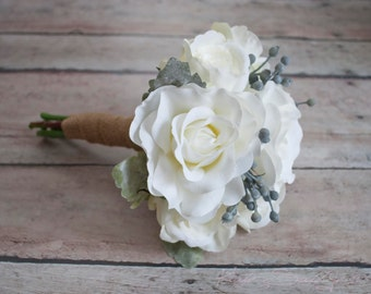 White Rose Wedding Bouquet with Silver Brunia and Dusty Miller - Rustic Bridesmaids Bouquet
