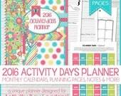 2016 PRIMARY Activity Days PLANNER Organizer, Calendar, LDS - Printable Instant Download
