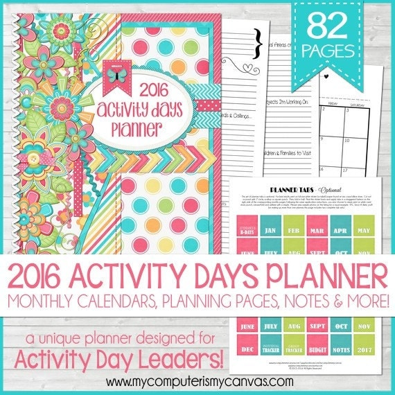 2016 PRIMARY Activity Days PLANNER by mycomputerismycanvas on Etsy