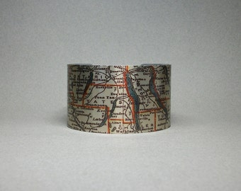 Finger Lakes Cuff Bracelet Upstate New York Vintage Map Unique Gift for Men or Women