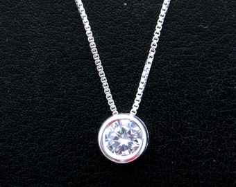 Cubic Zirconia Necklace, 6 mm CZ Pendant, Sterling Silver Bezel Set Cubic Zirconia Solitaire Necklace, Mothers Day Gift, Wedding Jewelry