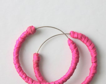 pink silk wrapped  hoop earrings