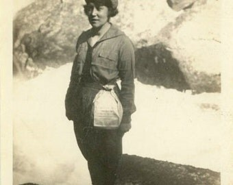 "Vintage Photo ""The Paper Bag Hiker"" Girl Woman Snapshot Photo Old Photo Black & White Photograph Found Photo Paper Ephemera Vernacular - 177"