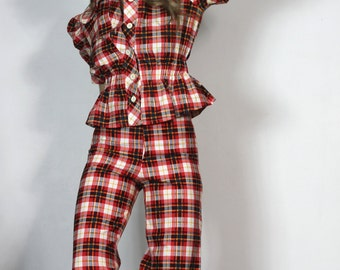 Legs for Days Vintage 70s Lady of Leisure Plaid Pantsuit Plaid Wide Leg Pant Puffed Sleeve Top 2 Piece Ensemble Set