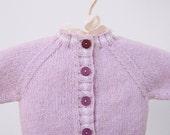 Baby Sweater, Pink Baby Sweater, Lilac Baby Sweater, Infant Sweater, Baby Shower Gift, Newborn Sweater, Hand Knit Baby Sweater