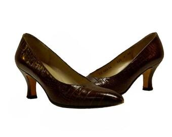 Vintage 1980s Ferragamo Shoes Size 5A Alligator Grained