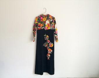 1960s / 1970s psychdelic OP ART mod flower power hippie maxi dress