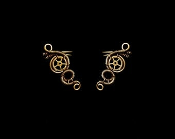 Small Steampunk Earcuff - Fake Cartilage Earring - Bronze Ear Cuff - Steampunk Gear - Unique Jewelry - Steampunk Collection