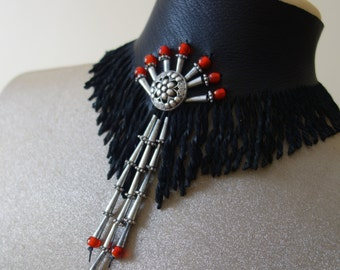 Black fringed deer leather neck choker, beaded collar, neckpiece, red beads Steampunk Victorian Boho Cowgirl Native Rustic Western jewelry