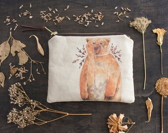 Brown Bear Bag. Small Makeup Bag. Zipper Pouch. Woodland Animals Fabric. Fabric Design. Cosmetic Bag. Coin Purse Wallet.