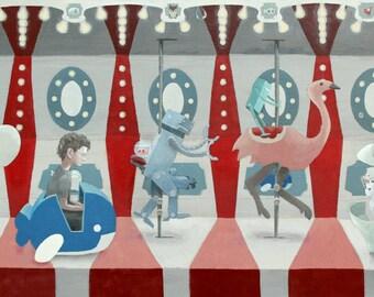 The Curious Carousel. 8x10 print of an original acrylic painting