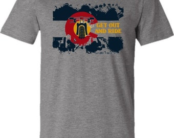 "Mountain Bike T-shirt-""Bike Colorado USA""-Get Out and Ride-Bicycle T-shirt in Grey-Bike Gift"