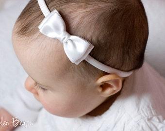 White Olivia Baby Bow Headband - Flower Girl Headband - Girls Headband - White Olivia Satin Bow Handmade Headband - Baby to Adult Headband