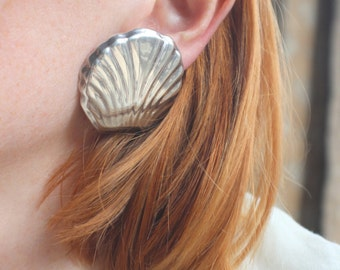 Taxco Shells / Sterling Silver EARRINGS / Large Modernist Clip on Earrings