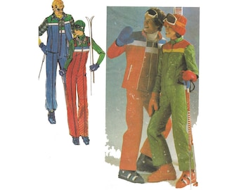 SALE! Vintage 1970s Mens Ski Jumpsuit and Jacket or Vest Chest 40 Uncut Butterick Sewing Pattern 5111 Winter Sports Skiing Snowboard