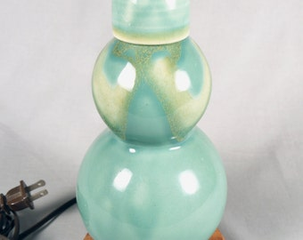 Beautiful Small Celadon Double Gourd Lamp with lathe turned wood base