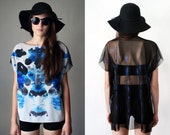 BLACK RAIN Avant Garde See Through Mesh Top - Sleeveless Sheer Black Tunic Boho Chic Zen Print Chiffon Blouse Sexy Witch Oversized Tee Shirt
