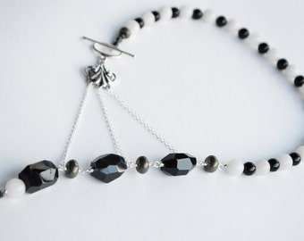 Black & White Adrienne Adelle Signature Necklace - Black Onyx Agate, White Jade and Sterling Silver Asymmetrical Gemstone Statement Necklace