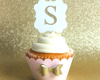 Baby Pink & Gold Cupcake Wrappers-cupcake wrappers-Gold bow cupcake wrappers-Pink and gold bow shower- Pink and gold birthday-12 Baby pink