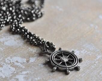 nautical necklace, ship's wheel necklace, nautical necklace, seafarers necklace, ship wheel charm, gunmetal necklace