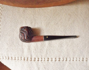Italian Briar Wood Pipe, Carved Hexagonal Bowl Tobacco Pipe
