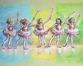 "Ballerina, dancers, Ballet painting, Canvas art, paper print ""All Together Now...First Ballet Recital"" Laurie Shanholtzer,"