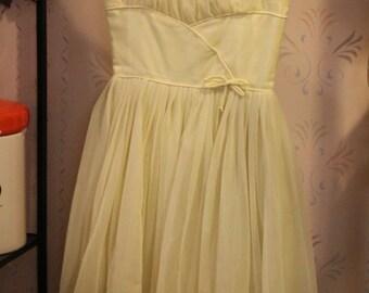Vintage Lemon Yellow Chiffon Party Dress, Small
