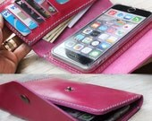 iPhone6/ Letter Pink leather iPhone wallet with case