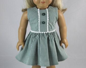 green gingham dress with white pom pom trim & headband for American Girl Doll