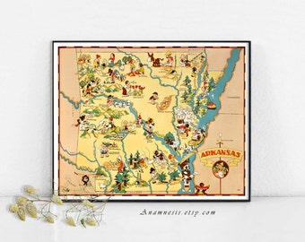 ARKANSAS MAP PRINTABLE - Instant Digital Download - printable vintage picture map for framing, totes, scrapbooking, cards, home decor, tags