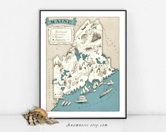 MAINE MAP - Instant Digital Download - printable picture map to frame - fun on totes, pillows, cards & mugs - vintage map home decor art