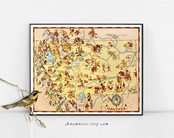 MONTANA MAP - Enhanced High Res Digital Image Download - printable vintage map for framing, totes, cards, pillows, mugs etc.- fun map art
