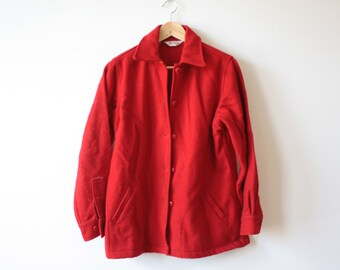 Red Wool Lumberjack Yard Jacket Womens Medium Workwear