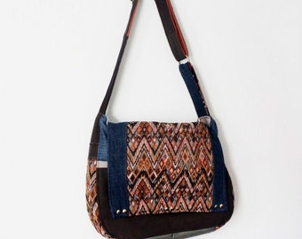 Upcycled Denim Crossbody Messenger Bag Studded Geometric Print Tapestry Handmade Unique Gift