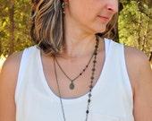 Ocean Jasper & Garnet Asymmetrical Long Necklace