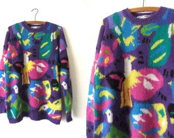 Intarsia Knit Birds Mohair blend Sweater - 90s Oversize Abstract Purple Kitty Hawk Baggy Slouchy fit Pullover Jumper - Womens Large / XL