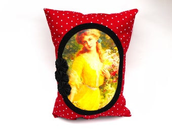 Lady in the Garden Pillow Handmade Red Polka Dot Handsewn Black Satin Rosettes Pocket Cushion Victorian Jane Austen Cottage Chic Home Decor