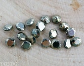 5mm golden pyrite gemstones. faceted pyrite. fools gold. gold stone
