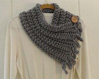 Crochet Button Fringe Scarf Heather Gray Wood Button Neckwarmer Scarflette Cowl