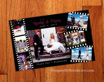 Large Filmstrip Wedding Thank You Card with Multiple photos - Free shipping - Any Color - Can also be a Save the Date or Announcements