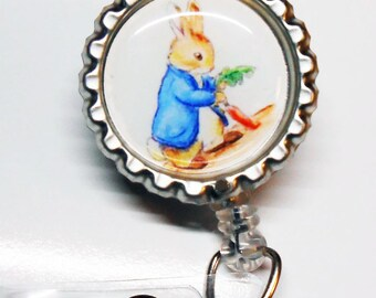 Peter Rabbit - ID Badge Reel - Nurse Stethoscope Tag - ID Badge Reel - Cute Bunny Id Badge Reel - Nurse Id - Beatrix Potter - Idr432