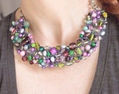 Bib Necklace, Purple and Green Jewelry, Beaded Necklace Handmade, Jewelry Repurposed