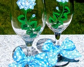 Hand Painted Wine Glasses With Blue Roses and A Bow, New Baby Boy Gift