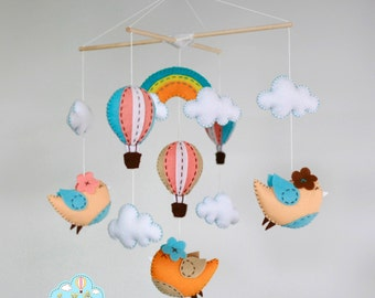 Birds rainbow and hot air balloons baby mobile - hot air balloons baby mobile -  up in the sky mobile